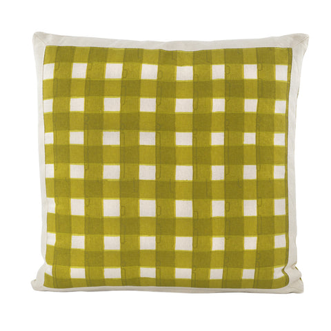 Gingham Watercolour Cushion Moss Green