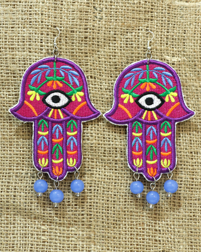 Carmine Khamsa Earrings