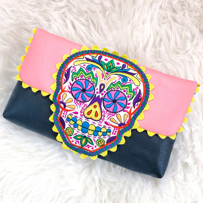 Lulu | Sugar Skull Embroidered Clutch