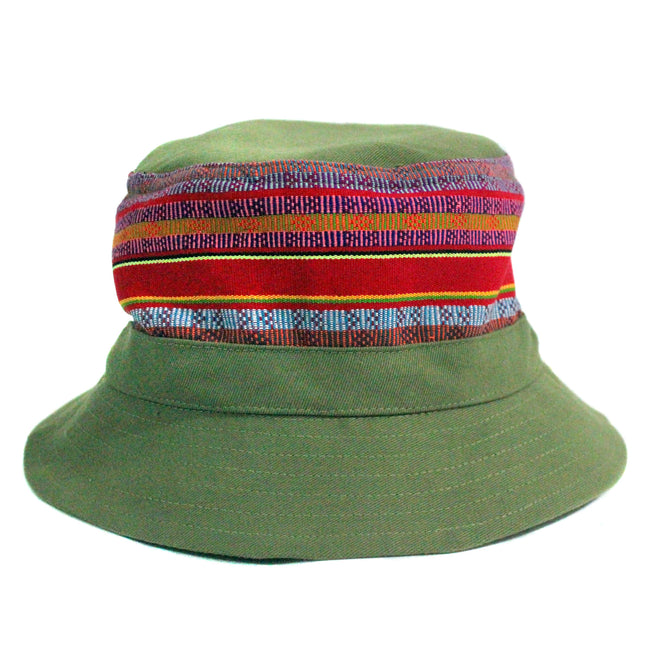 Handcrafted Bucket Hat for some music festival fashion inspiration , in trendy khaki military cotton fabric