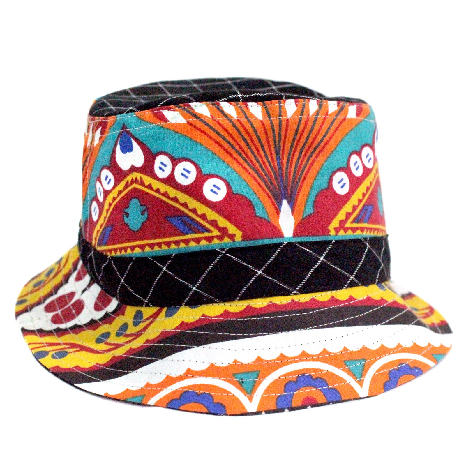Handcrafted Bucket Hat for some music festival fashion inspiration , in cotton fabric with prints that were inspired by pakistani truck art