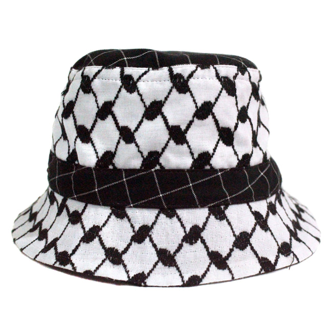 Handcrafted Bucket Hat for some music festival fashion inspiration , in keffiyeh ghitra cotton fabric