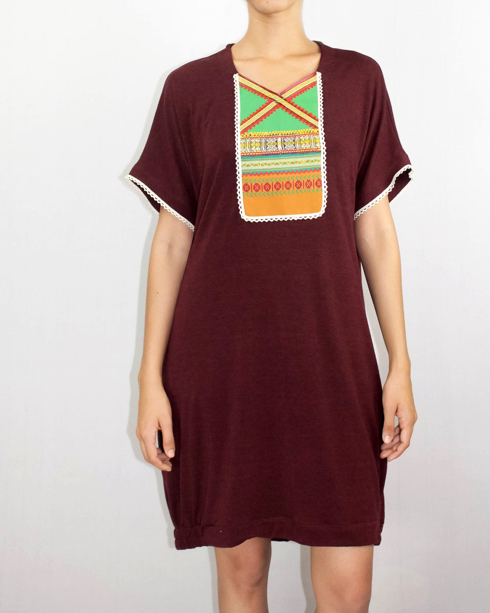 Wine Red T-shirt Dress with Patchwork