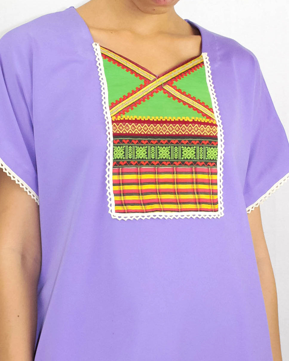 Lavender Patchwork T-shirt Dress