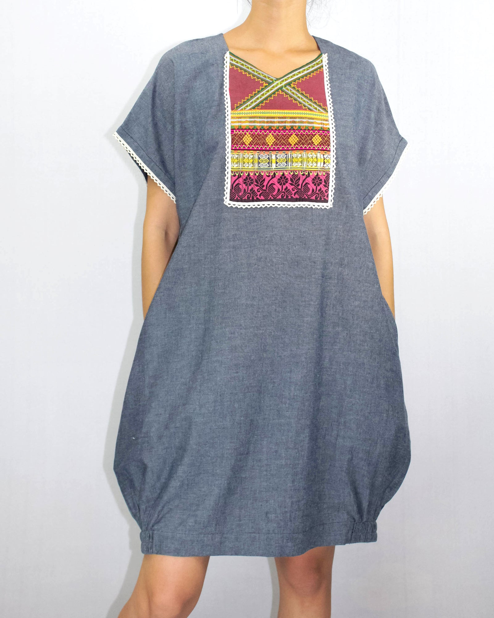 Chambray Cotton & Patchwork Dress