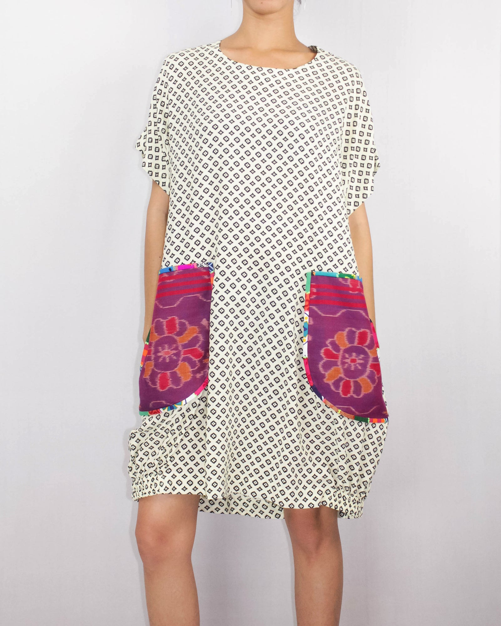 Cotton Shift Dress with ikat pockets by ragmatazz