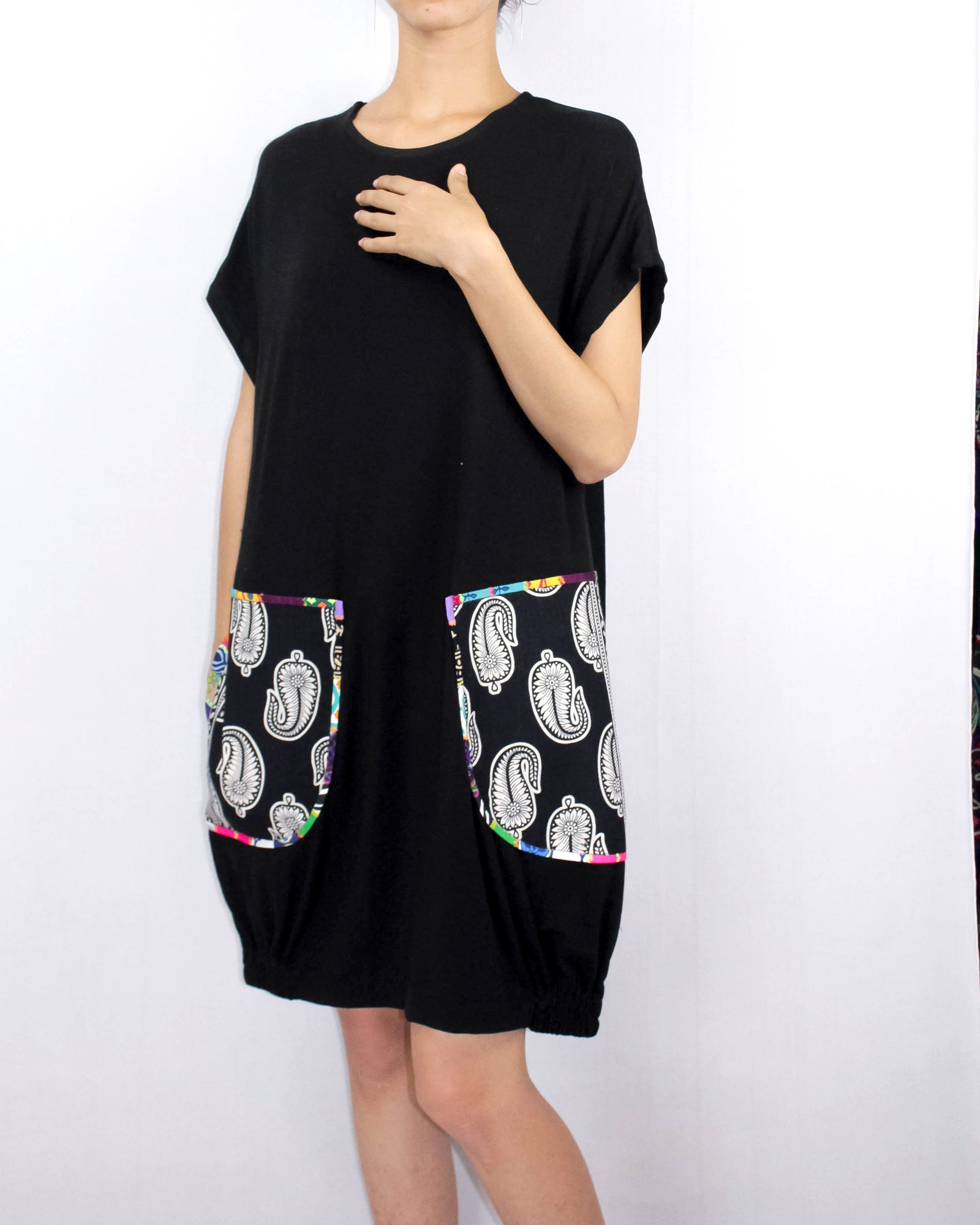 summer cotton dress with handcrafted patchwork pocket in black tshirt cotton knit fabric