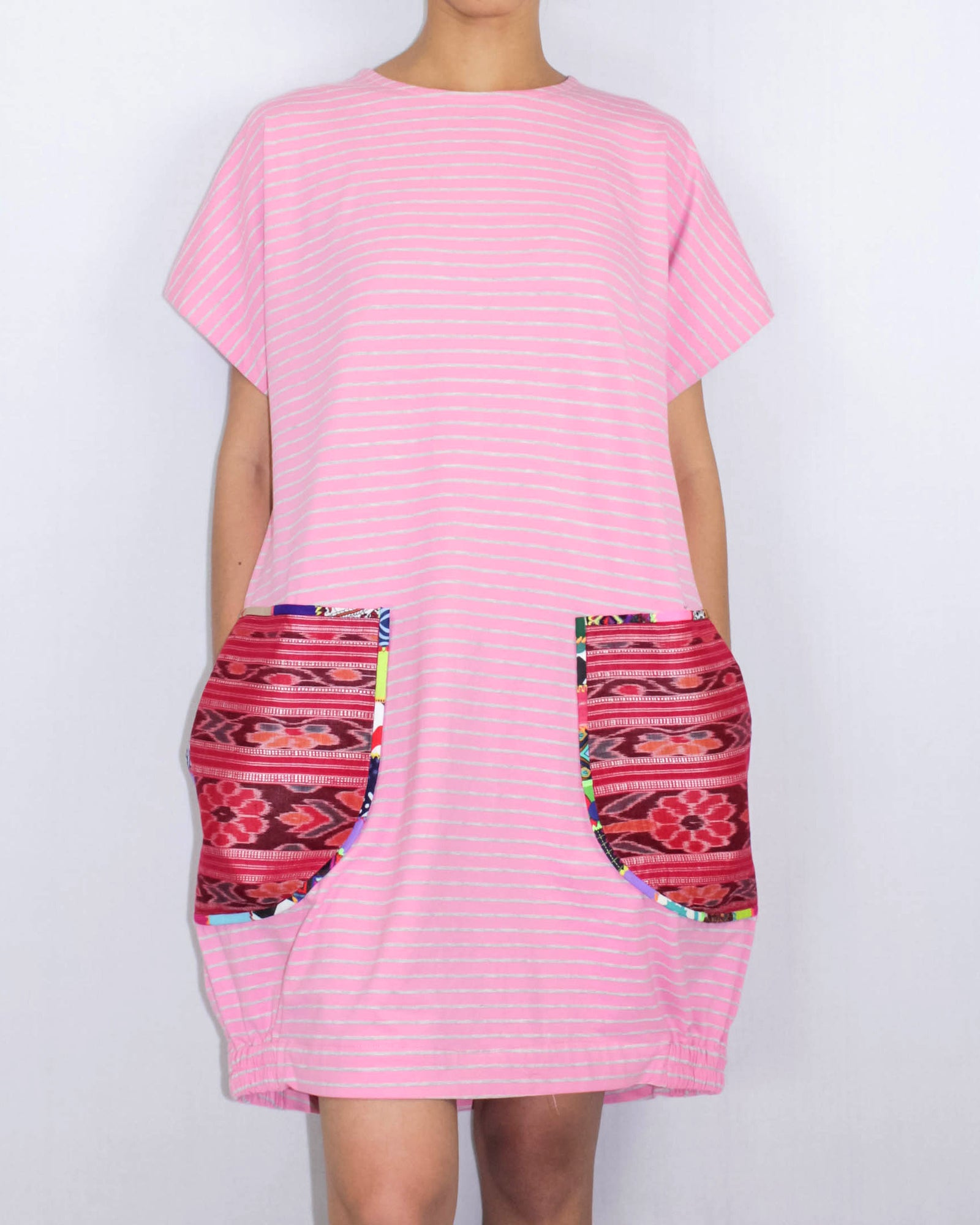 Pretty in Pink T-shirt Dress with ikat pockets by ragmatazz