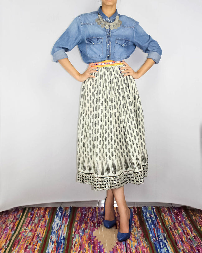 Block Print Skirt cotton circle skirt