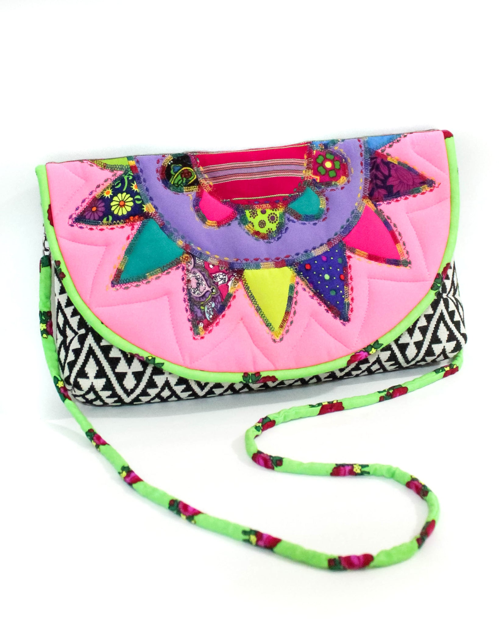 Neon Pink Signature Patchwork Purse
