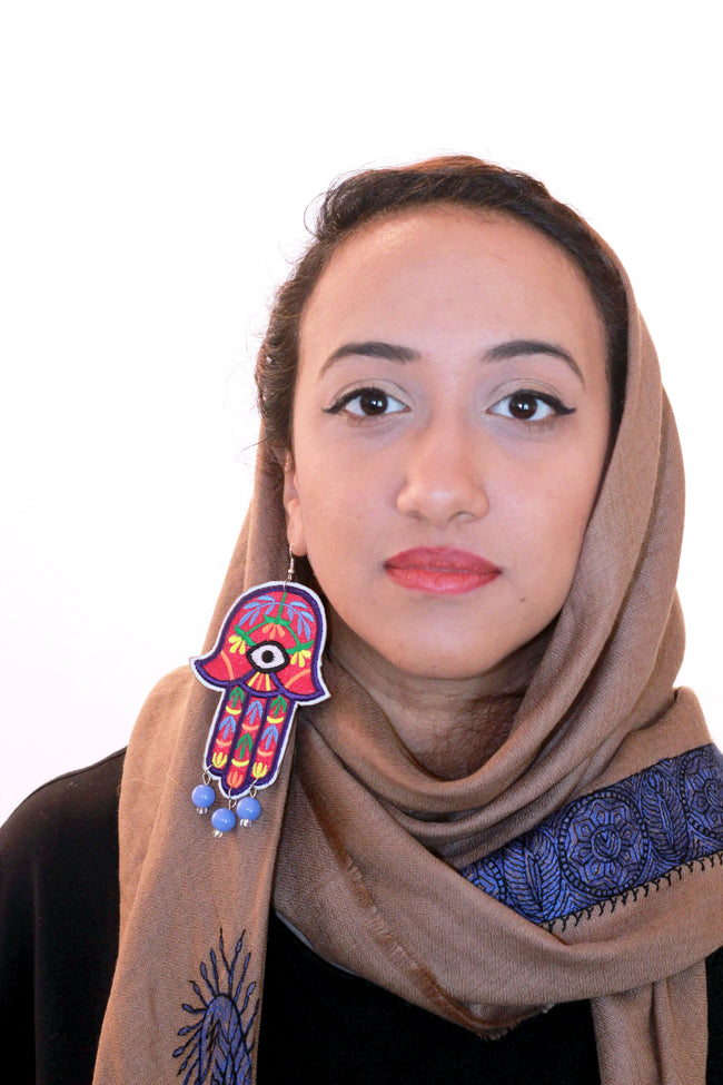 handmade khamsa embroidery earrings