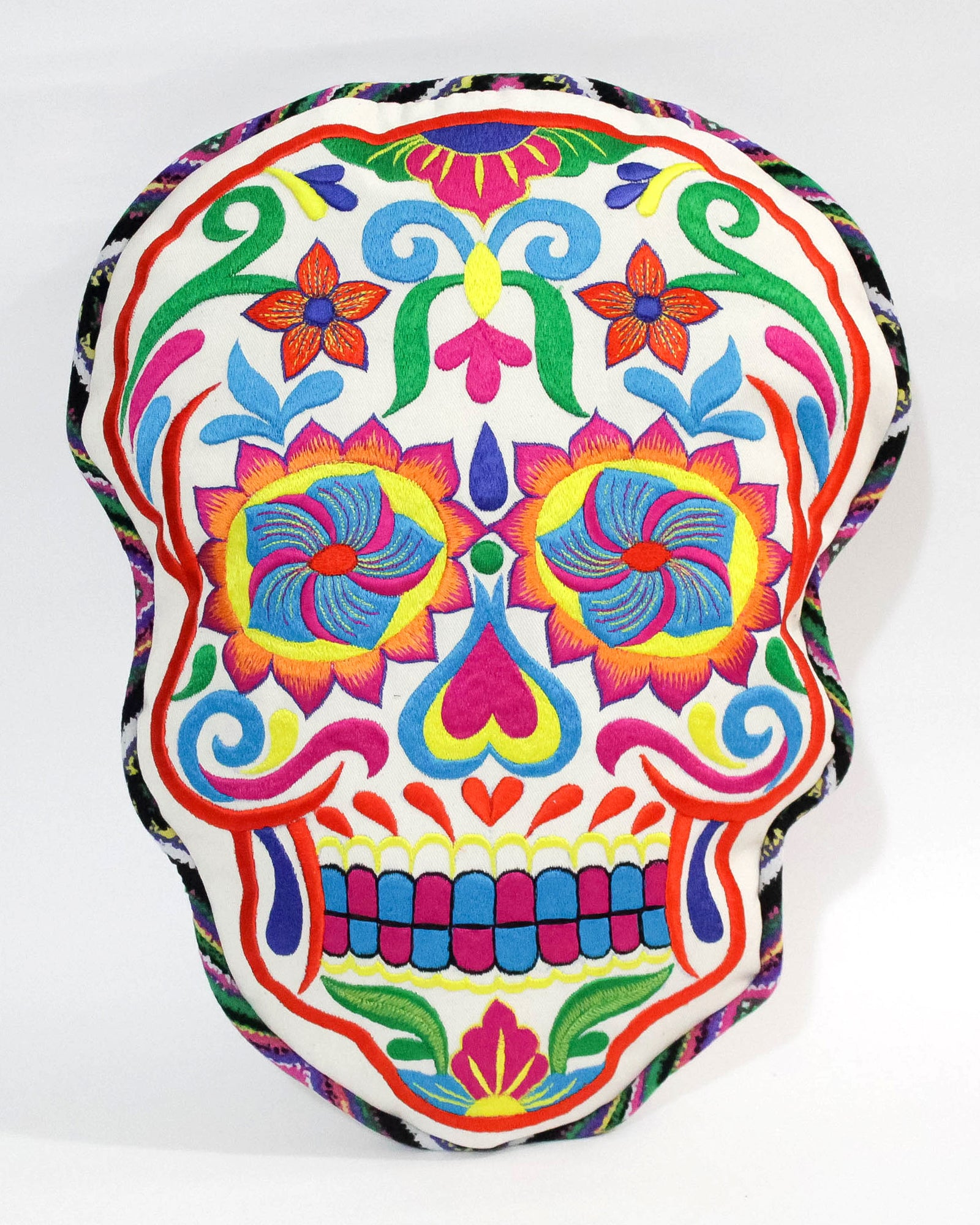Mexican Sugar Skull cushions on white