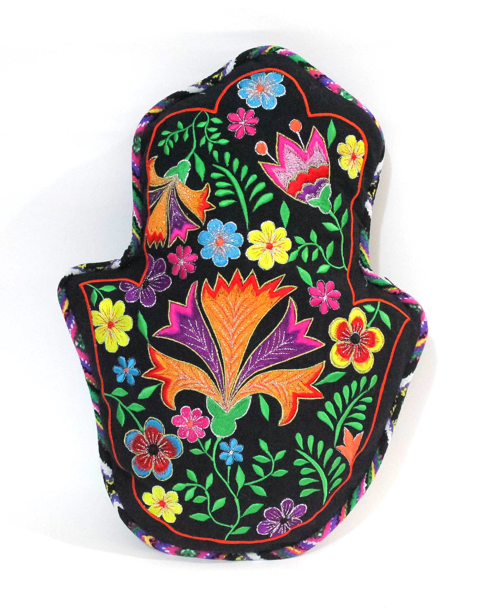 Hand of Fatma, aka Khamsa, Cushion in black