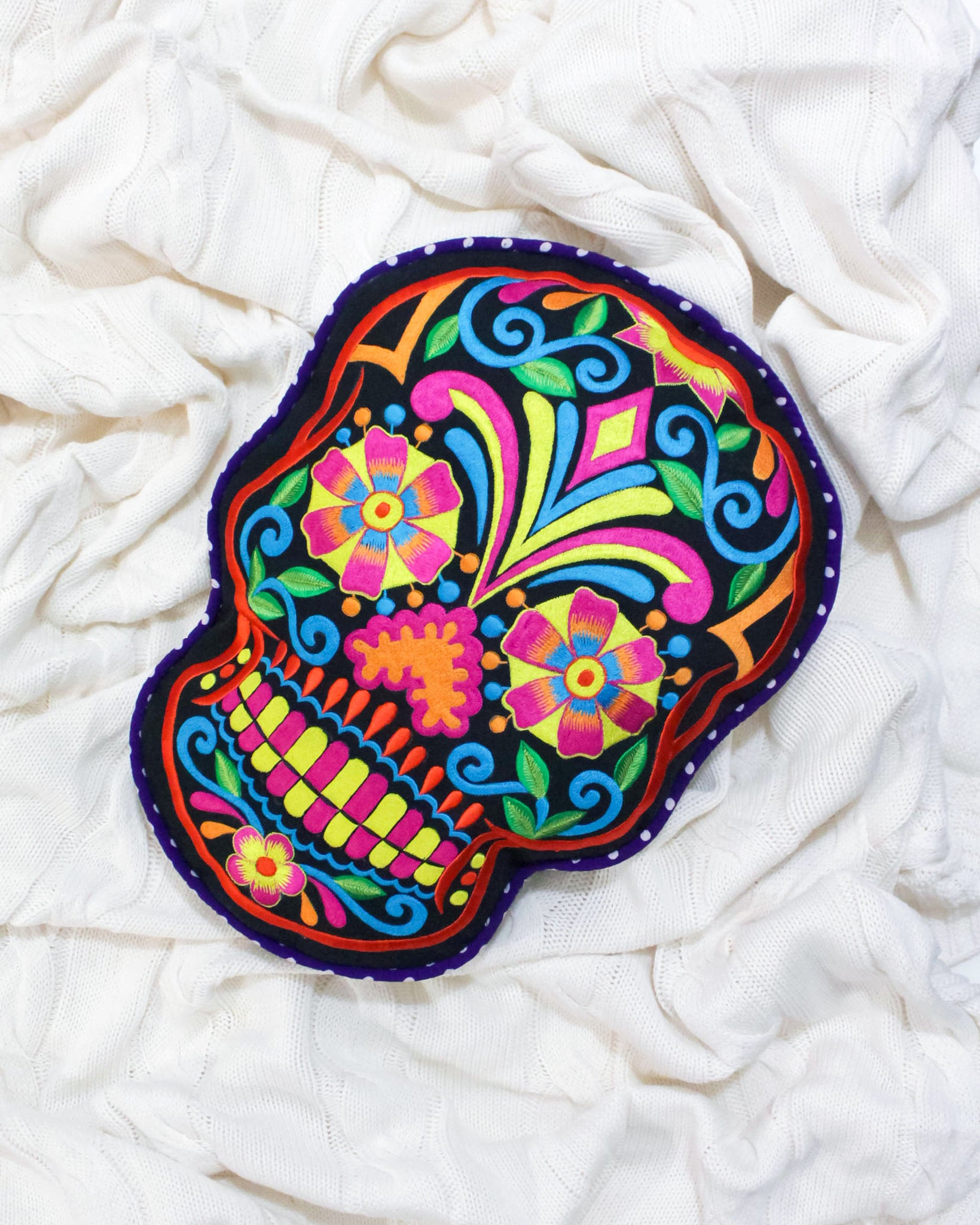 Mexican Sugar Skull cushions on black