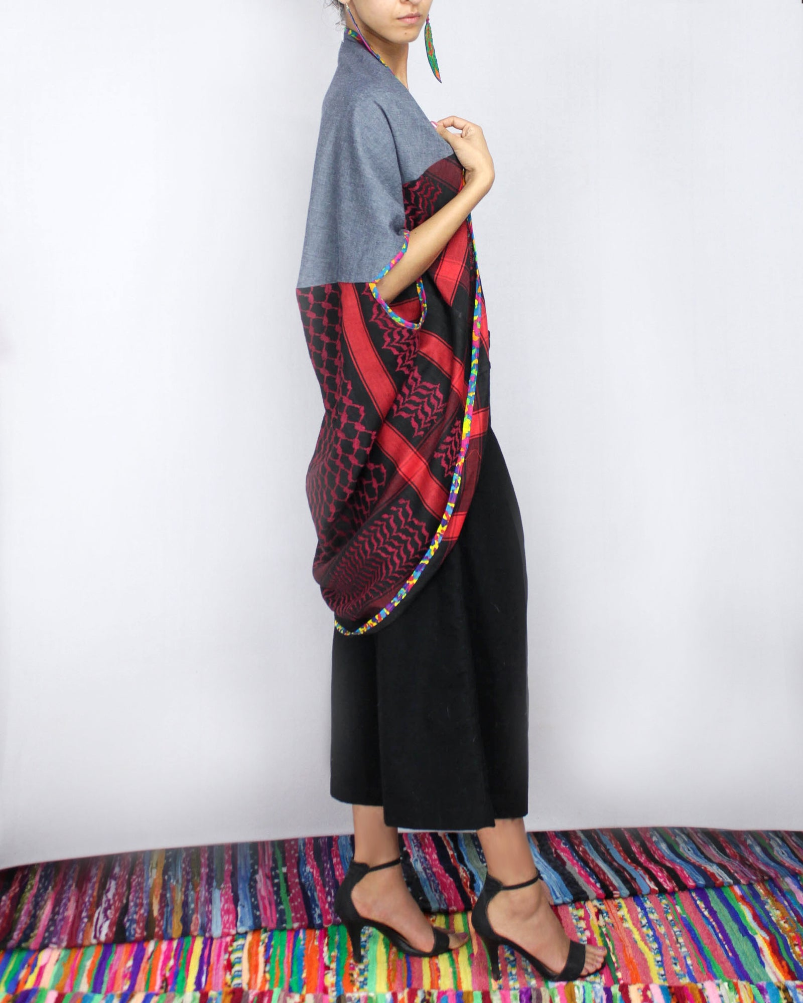 Keffiyeh Classic  cotton baby denim convertible cape by ragmatazz