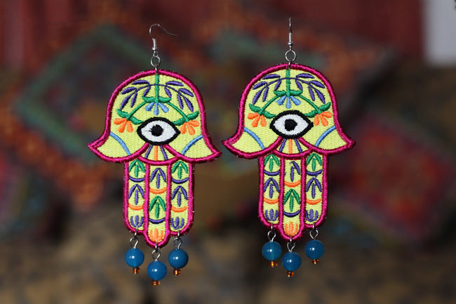 Statement Embroidered Khamsa Earring