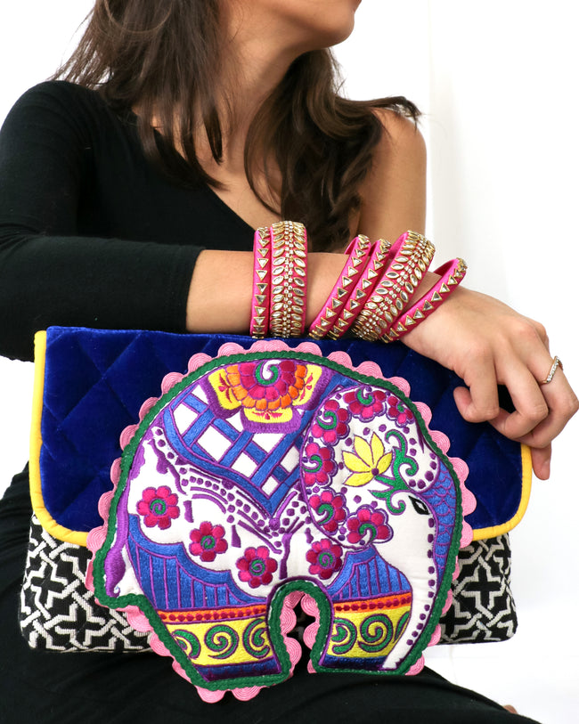 Gina | Signature Elephant Embroidery Clutch