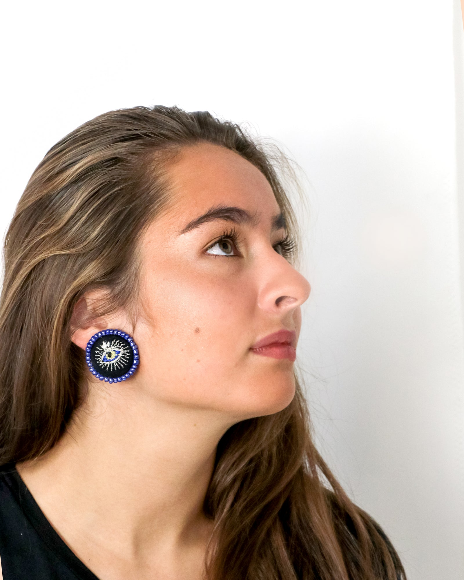 Embroidered Button Earrings | Alexandria