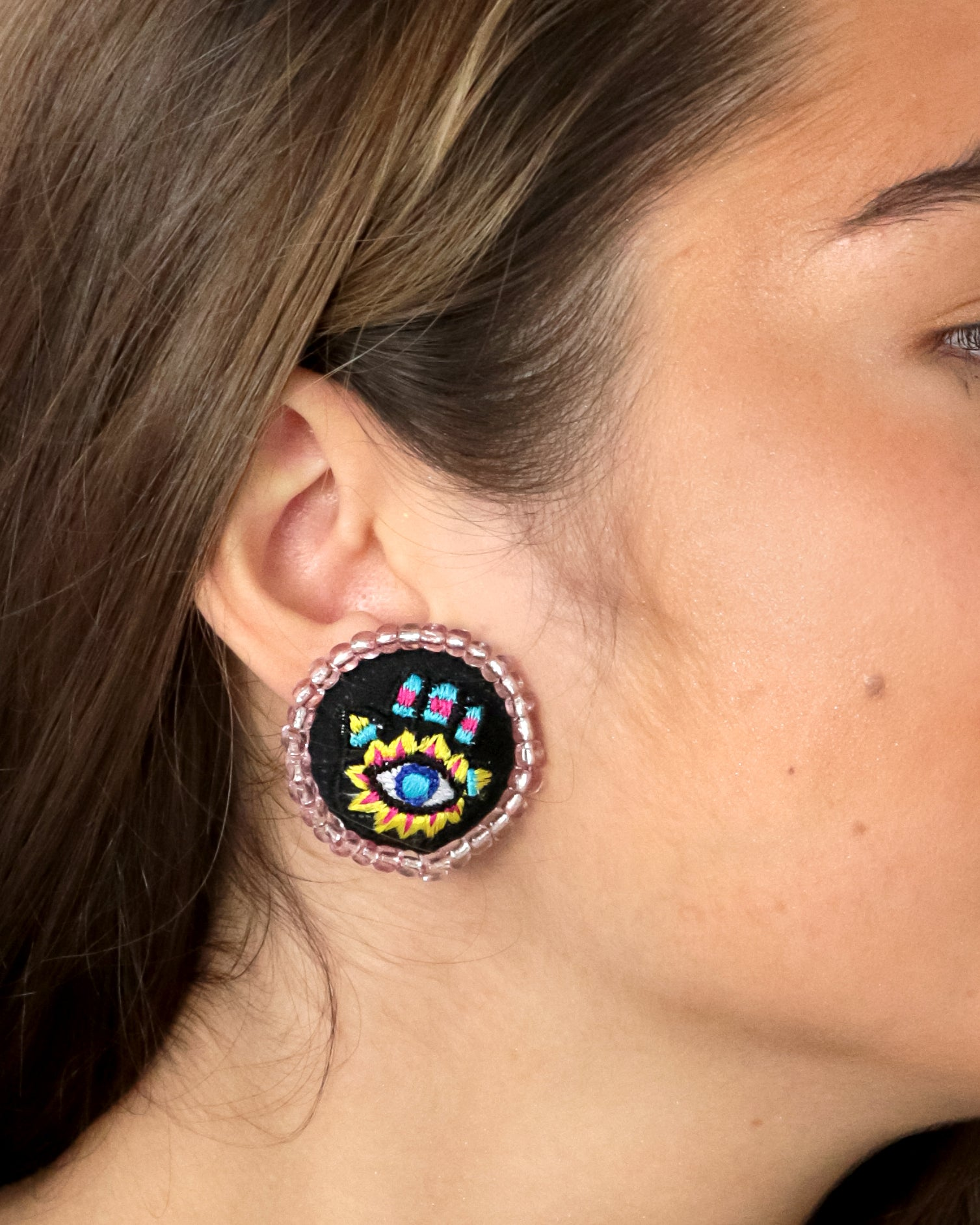 Embroidered Button Earrings | Khamsa Kaleidoscope