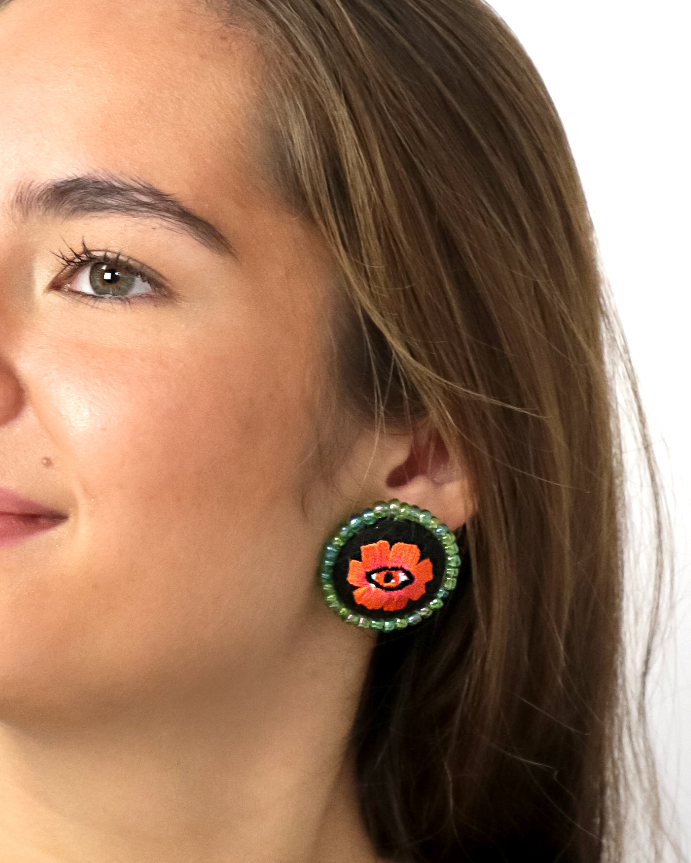 Embroidered Button Earrings | Poppin' Poppy