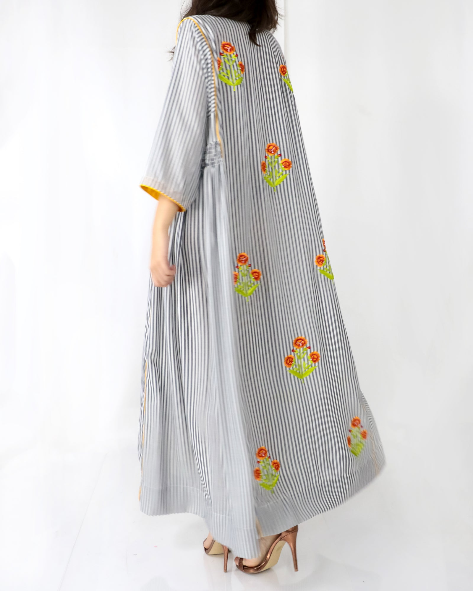 Hadiqatee Embroidered Dress | Grey Stripes