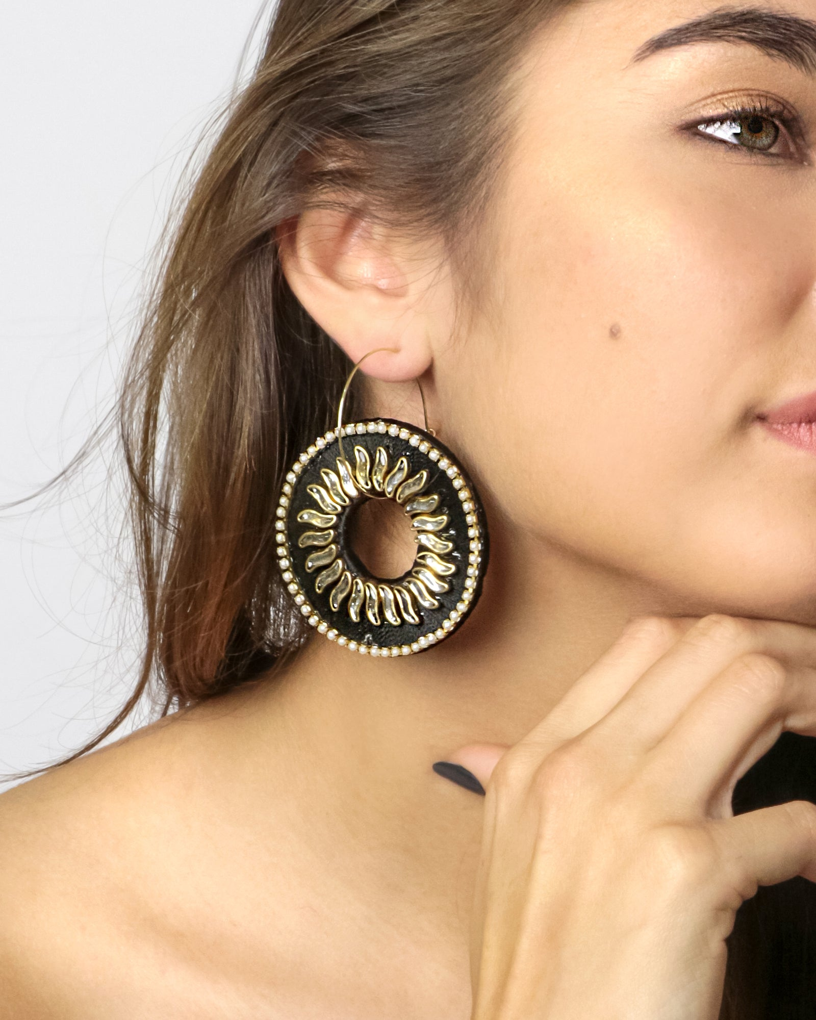 Sol Star Hoop Earrings