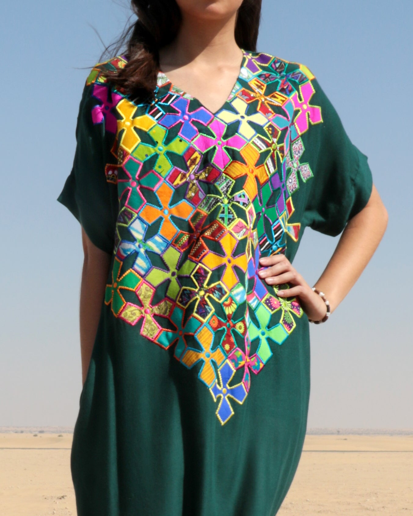 Aurora Applique Embroidery Dress | Emerald