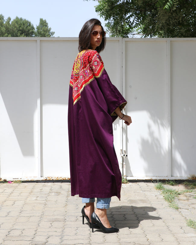 Bisht Duster | Amira in Burgundy