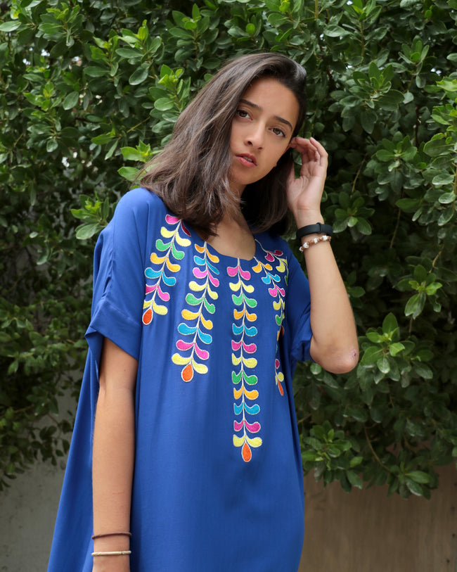 Aliyah Gardenia Embroidery | Electric Blue