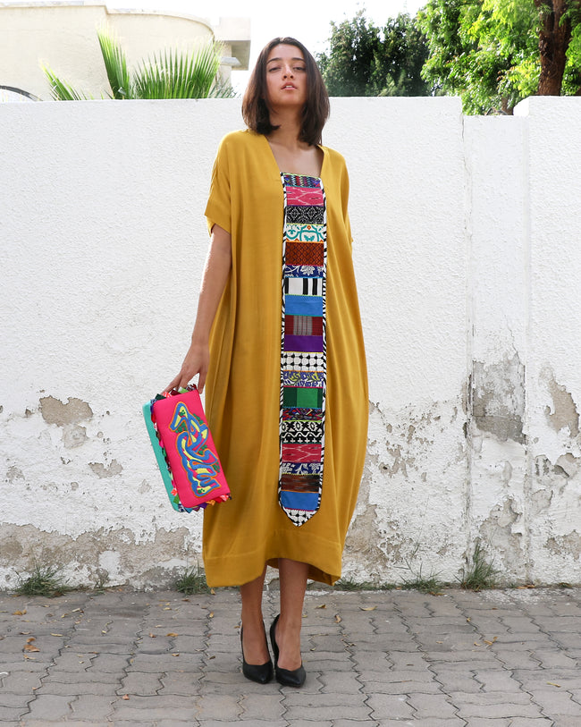 Patchwork Parade Dress | Mustard Yellow
