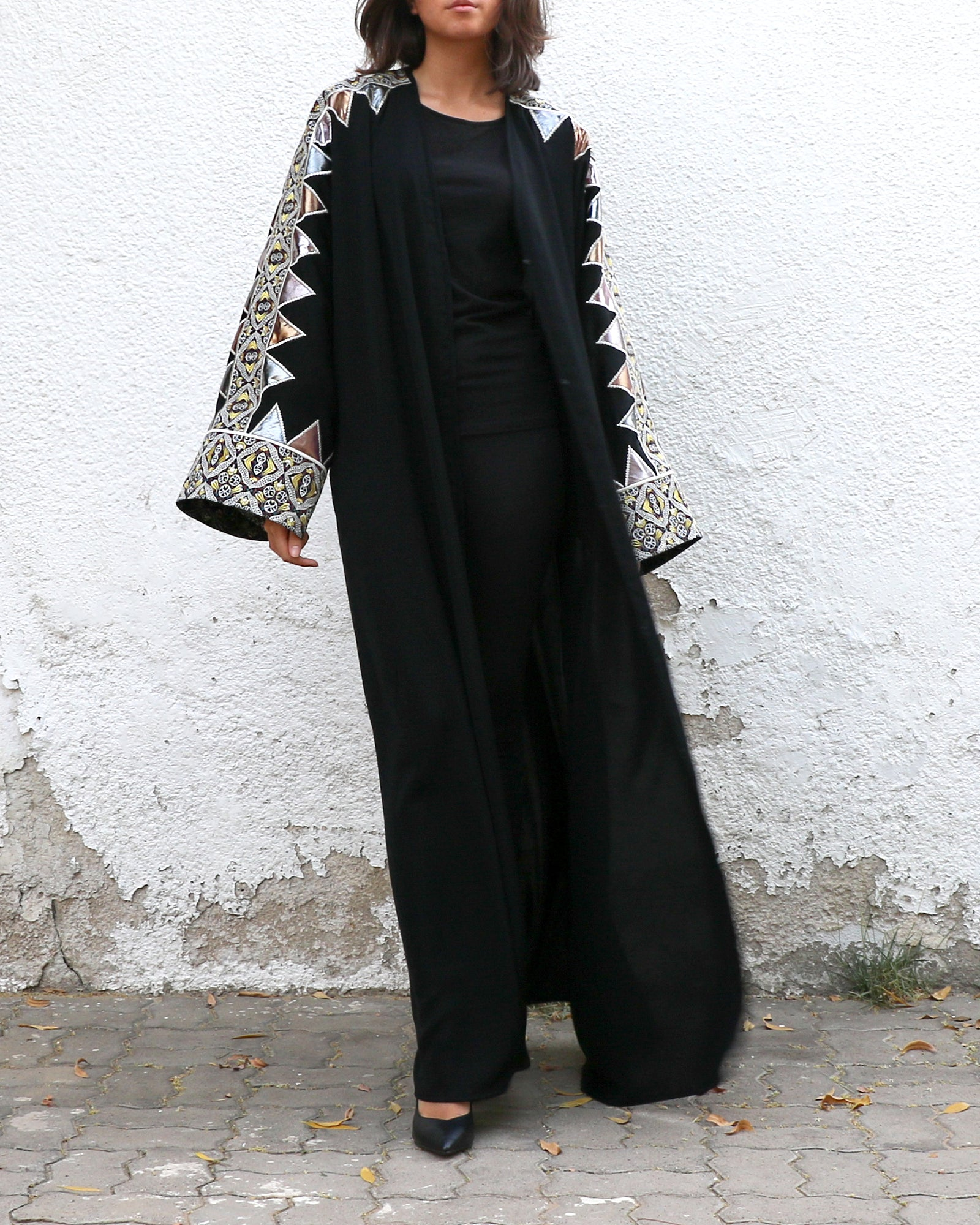 Blaze Metallic Applique Abaya