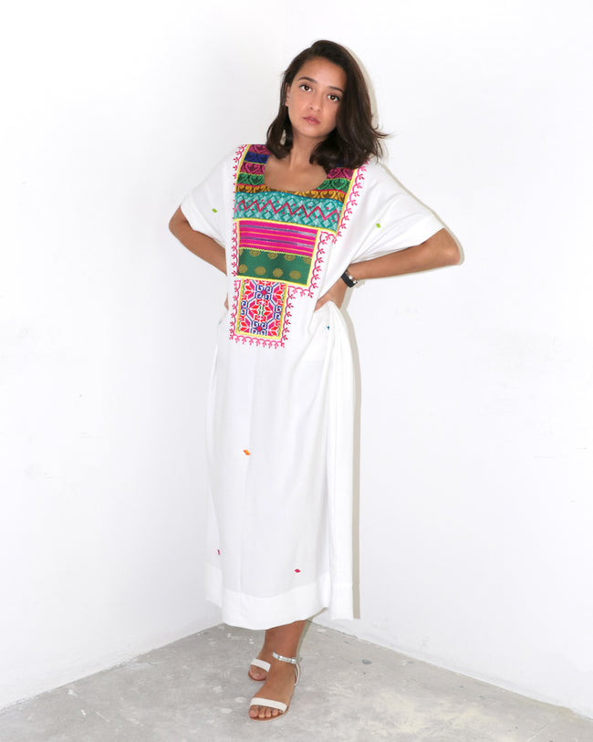 Bandida Signature Patchwork Dress | White