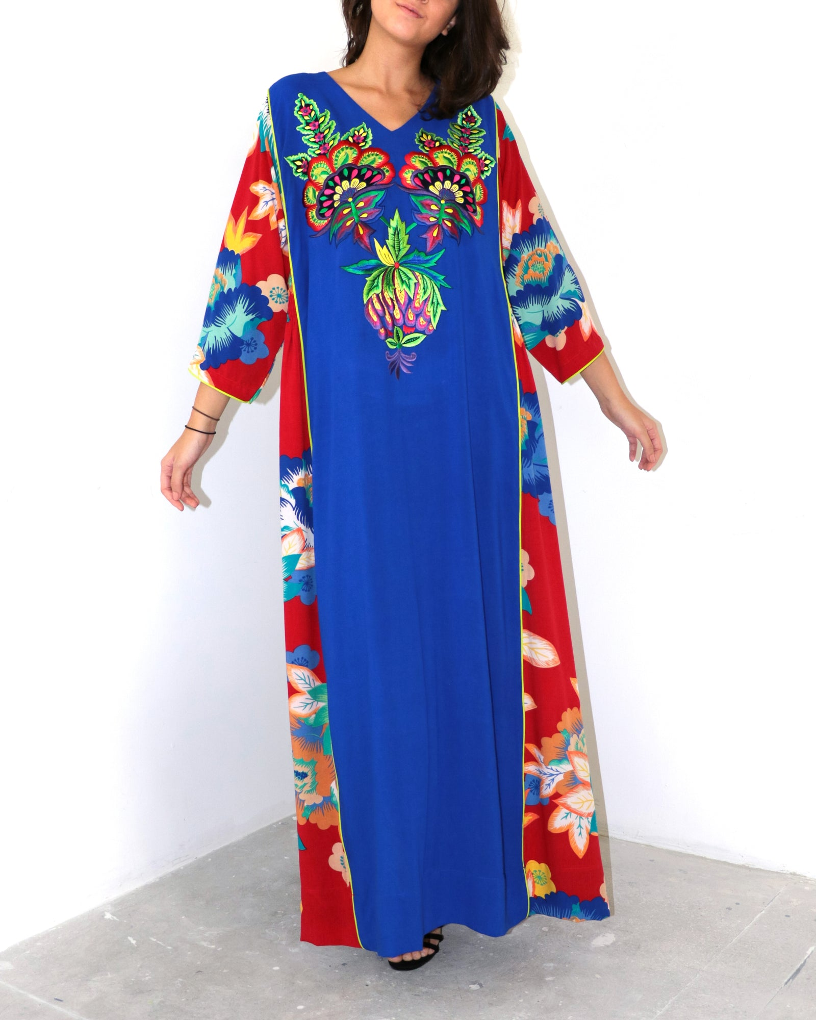 Anahita Embroidery | Cobalt & Red