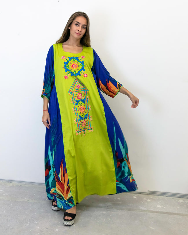 Sheikha Embroidery | Blue & Lime