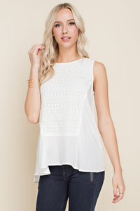 The Caroline | White Tank with Lace Details