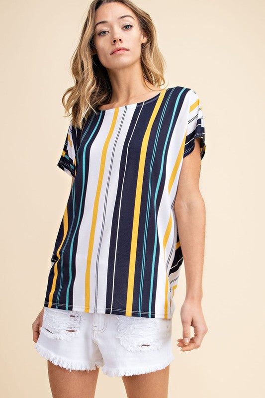 Knotty Nautical | Blue and Yellow Striped Knotted Top
