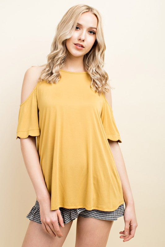 You're a Sunflower | Mustard Scalloped Tee