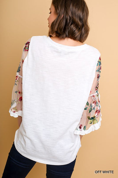 Sheer Delight | White Top with Floral Sheer Sleeves