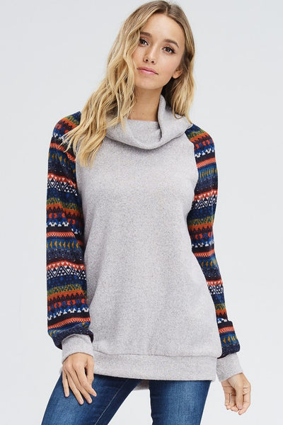 Stop, Drop, and Shop | Cowl Neck Sweater with Patterned Sleeves