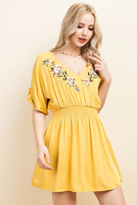 Yay for Sunny Days | Mustard Embroidered Dress