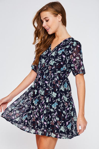 Picking Violets | Navy Floral Print Dress