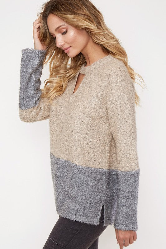 Just The Way You Arctic | Grey and Nude Color Block Sweater