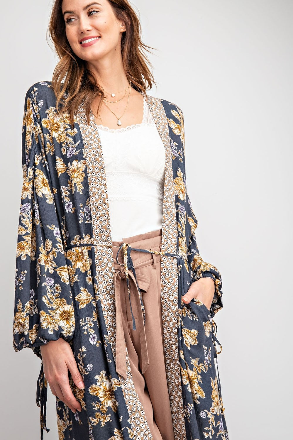 Stay Awhile | Navy Floral Duster