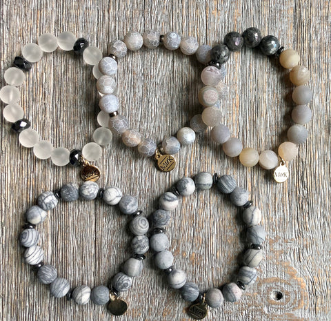 Beaded Stretch Bracelet - Grey/Brown
