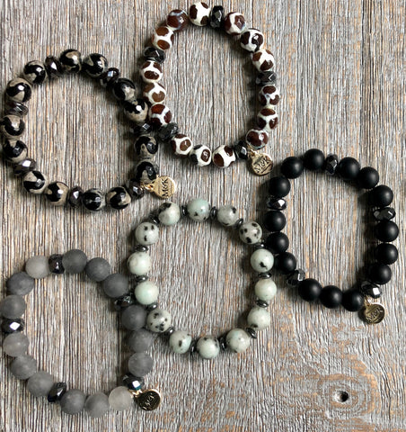 Beaded Stretch Bracelets - Black