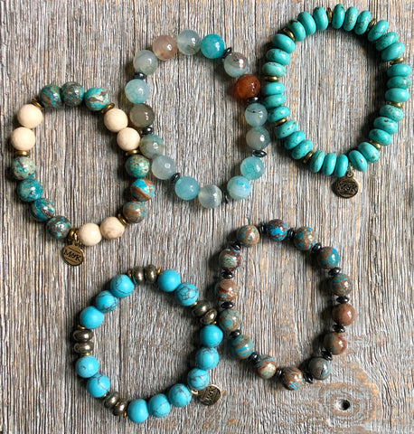 Beaded Stretch Bracelets - Turquoise