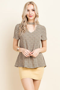 Wildflower Top | Ditsy print Choker Neck Short Sleeve Top