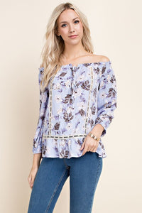 No Room for the Blues | Off The Shoulder Floral Print Top