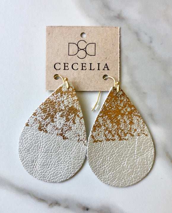 Silver and Gold Splatter Leather Earrings