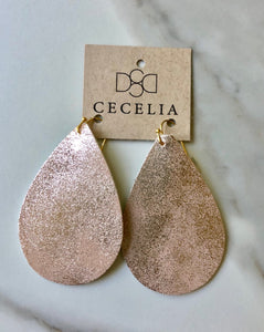 Sparkling Peach Leather Earrings